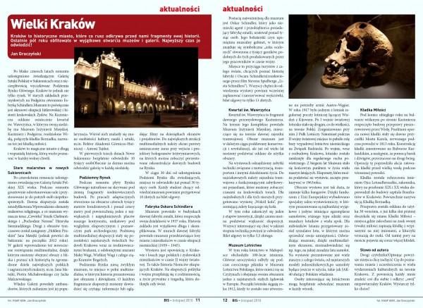 """Artykuł """"Wielki Kraków"""" w listopadowym Biuletynie Informacji Studentów AGH z 2010 roku"""